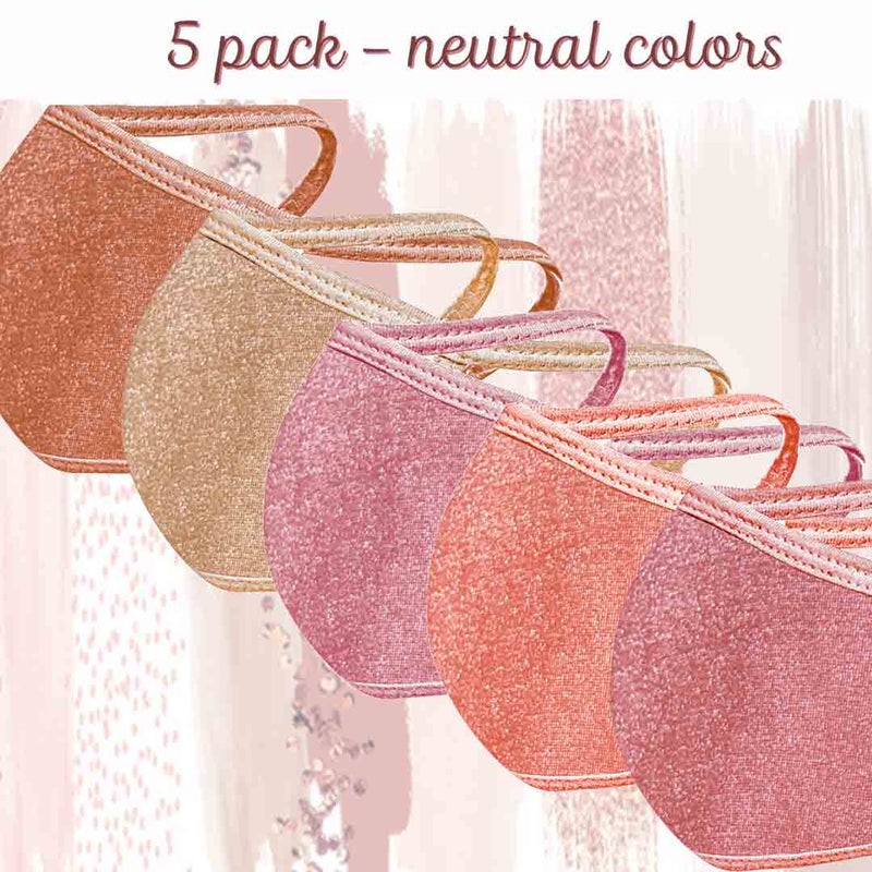 Solid Face Mask Five Pack - With pocket for filter