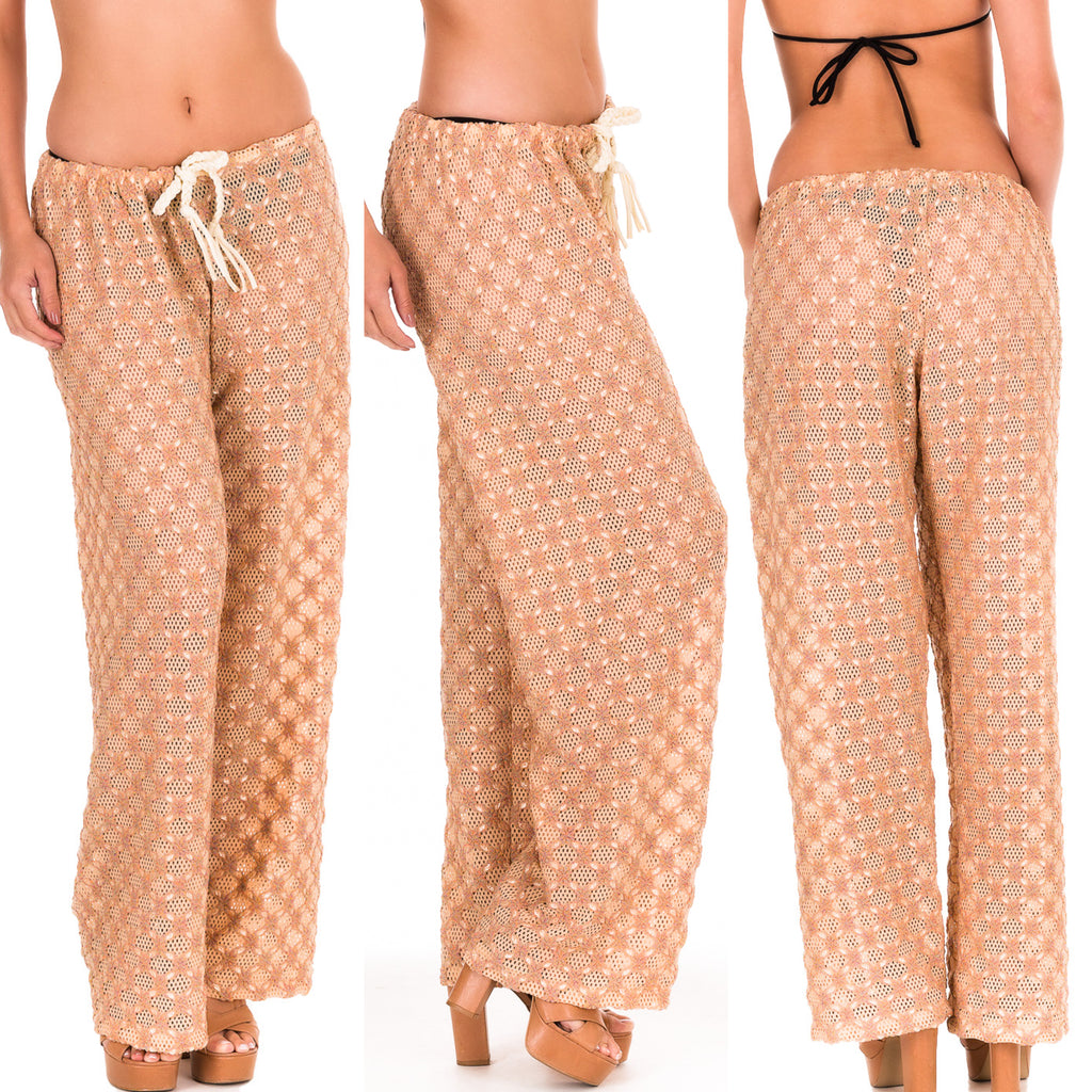 Crochet Pants Embroidered MESH FABRIC