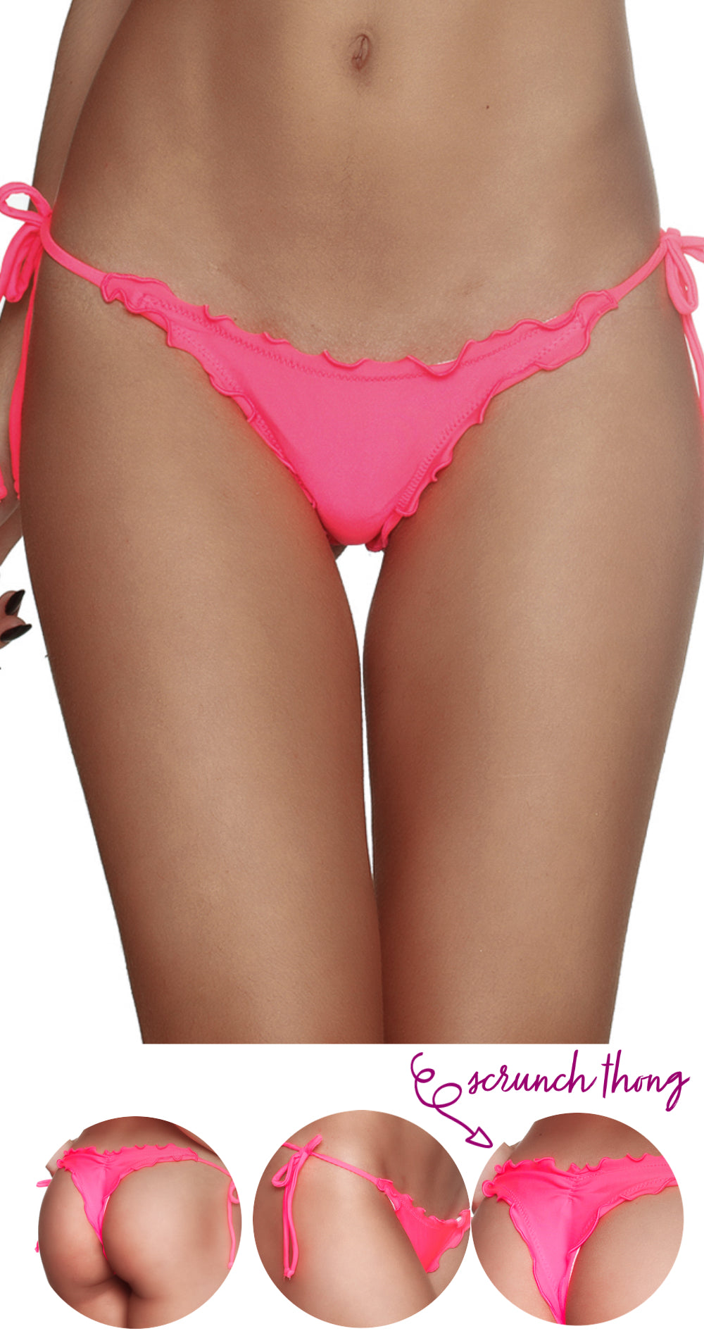 Coral - Ruffles Thong Bottom