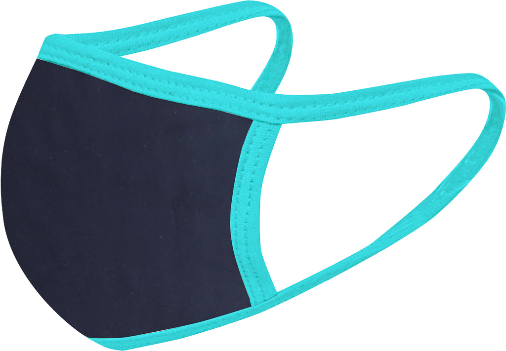 Navy Aqua - FACE MASK - With pocket for filter