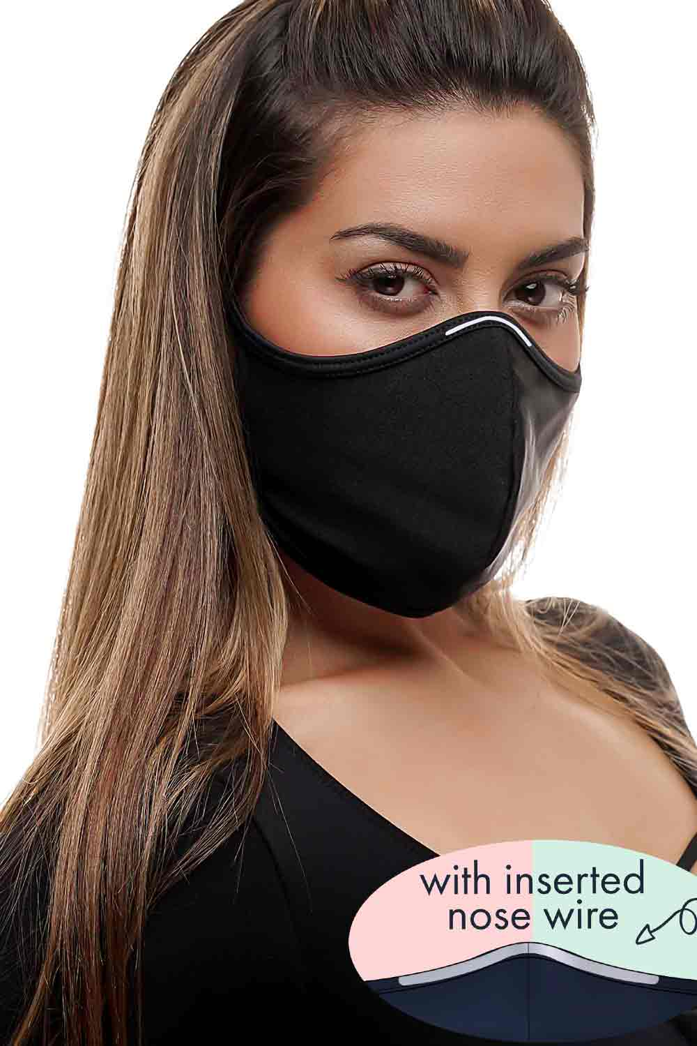 CrissCross Black WITH INSERTED NOSE WIRE - FACE MASK