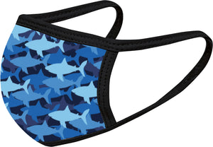 Shark Print Face Mask Five Pack - With pocket for filter