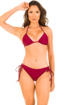 Sangria - Ruched Moderate Coverage Bikini Set