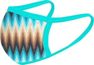 Turquoise ZigZag FACE MASK - Comfortable Washable Unisex Mask