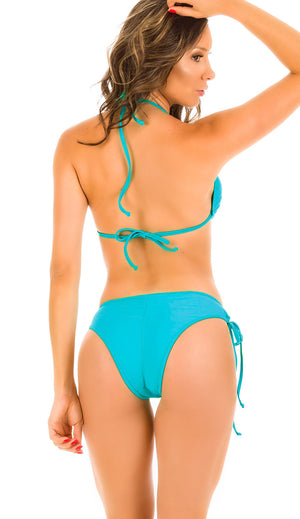 Turquoise - Ruched Moderate Coverage Bikini Set