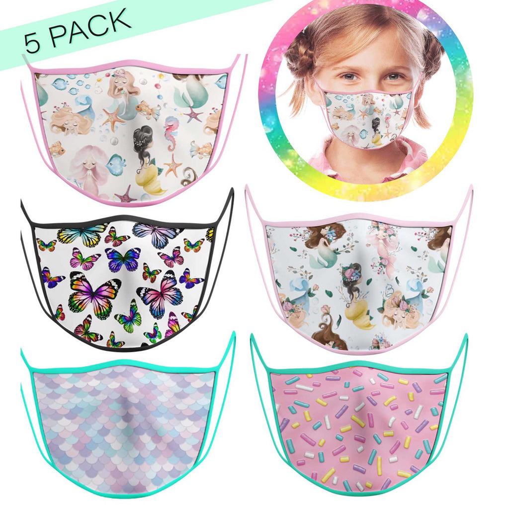 5 Pack Girl - KIDS FACE MASK - With pocket for filter