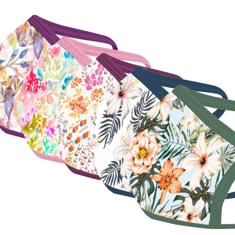 Floral - Face Mask Five Pack - With pocket for filter