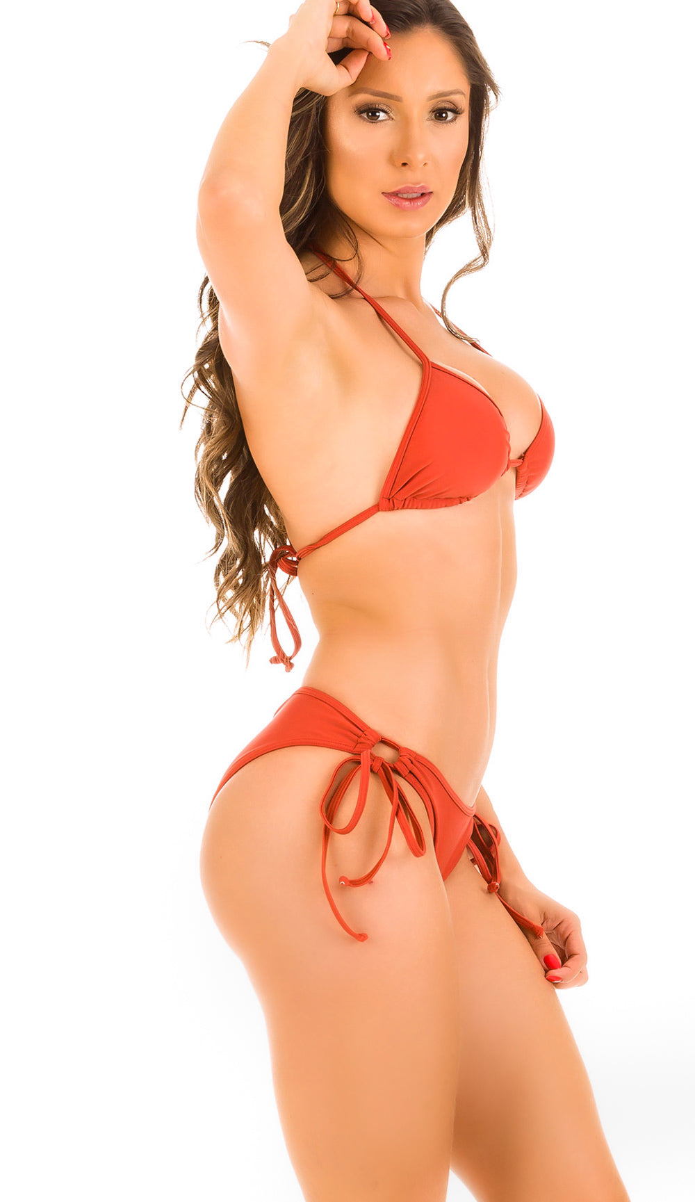Cinnamon - Ruched Moderate Coverage Bikini Set