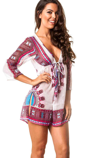 Paisley V neck Tunic  Cover Up Dress Purple