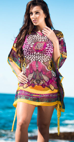 Butterfly sleeve Tunic Cover Up Dress Blue Cover Up Dress Yellow