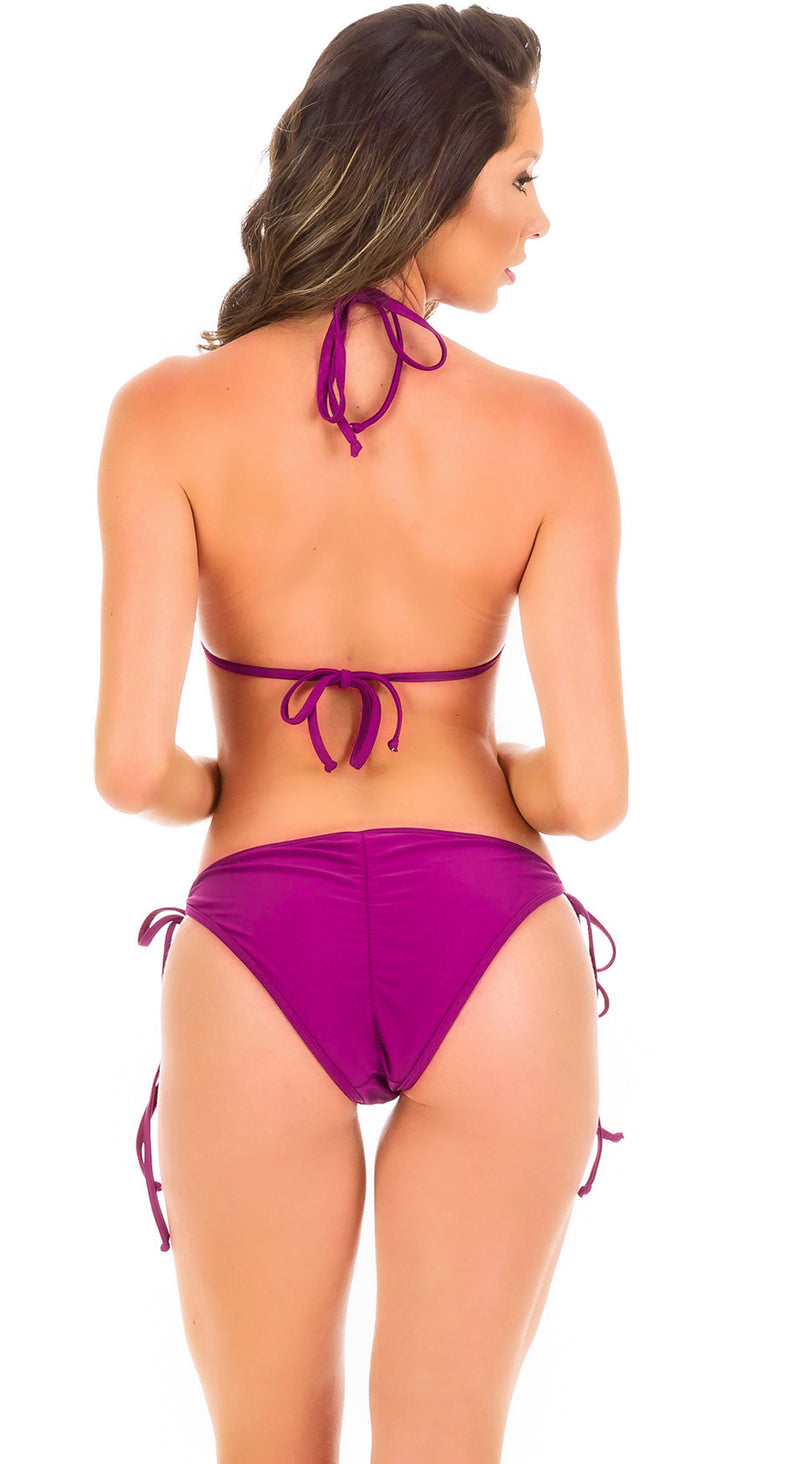 Purple - String Side Moderate Coverage Bikini Set