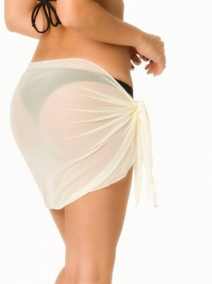 Ivory - solid Mesh Short Sarong  Cover Up