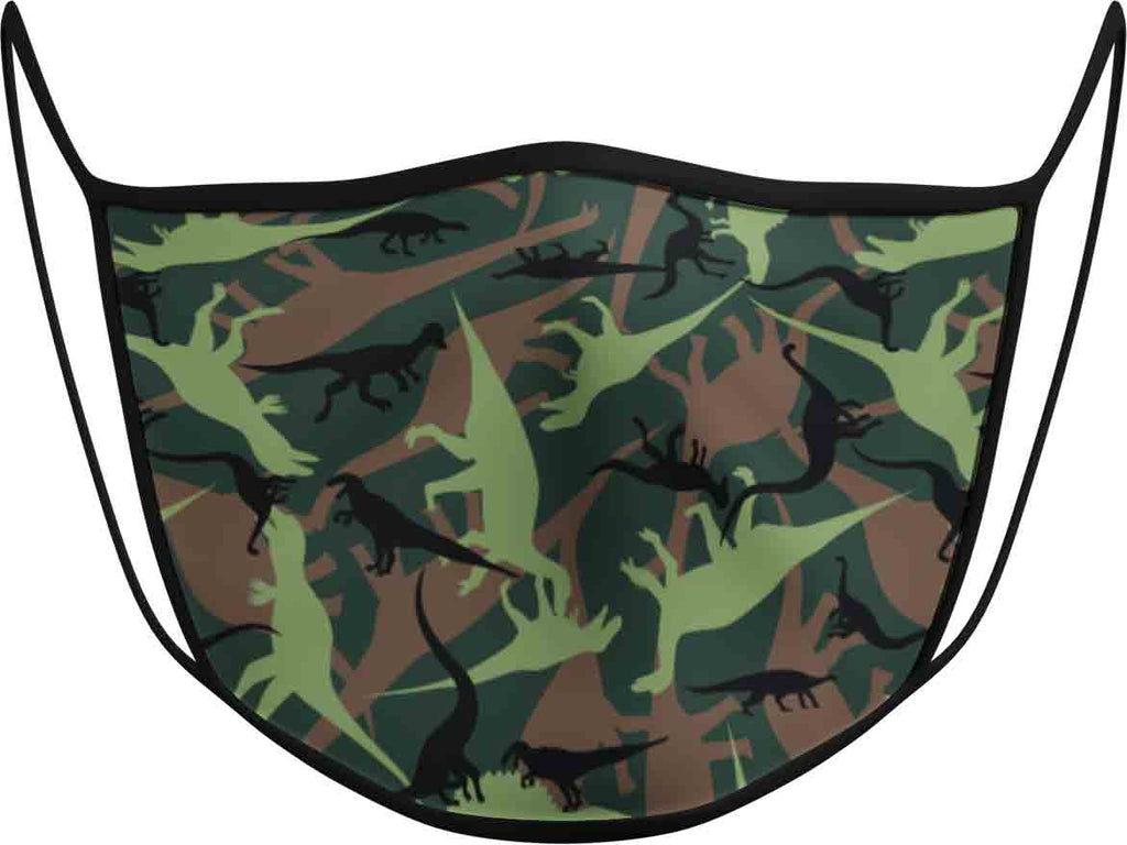 Camouflage DINO JURASSIC - KIDS FACE MASK - With pocket for filter