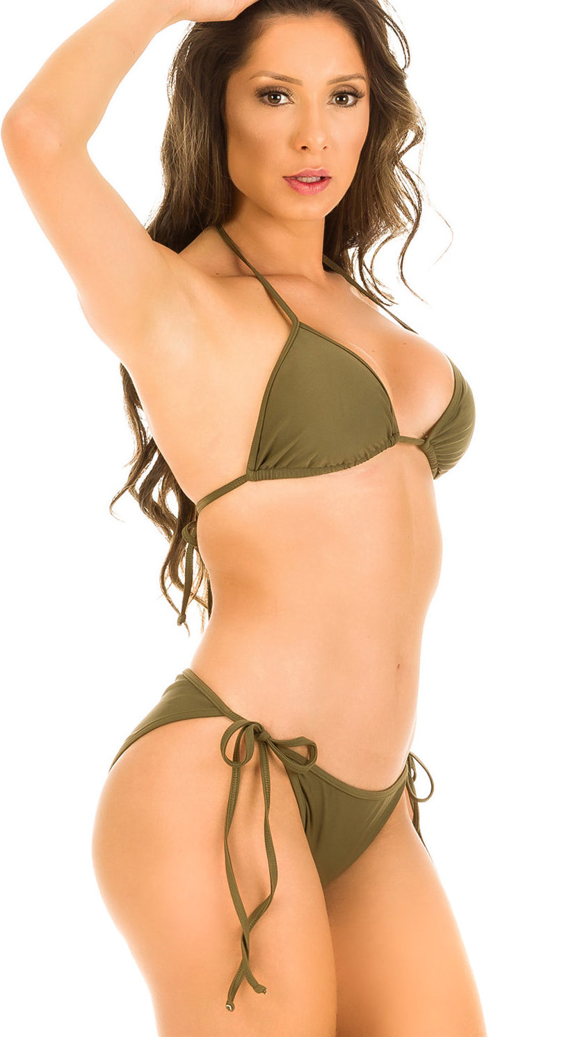 Khaki - String Side Moderate Coverage Bikini Set