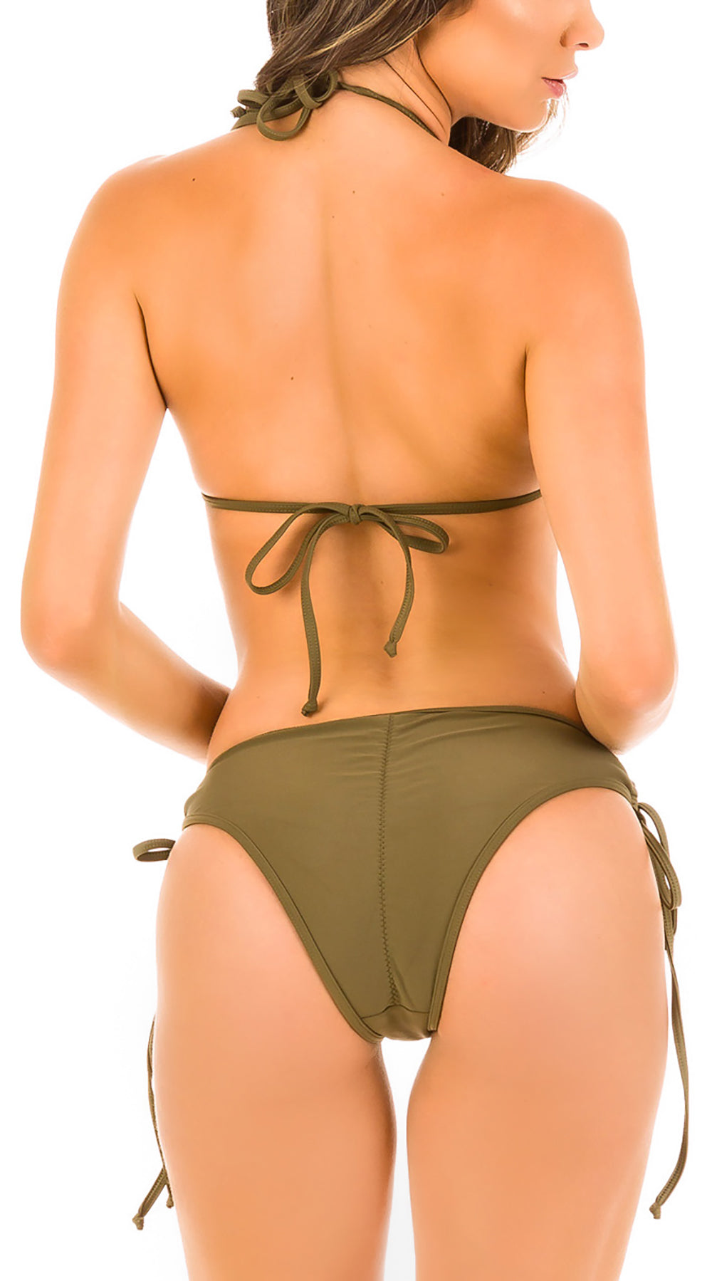 Khaki - Ruched Moderate Coverage Bikini Set
