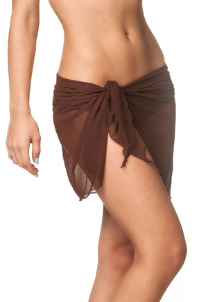 Brown -  solid Cover Up Mesh Short Sarong