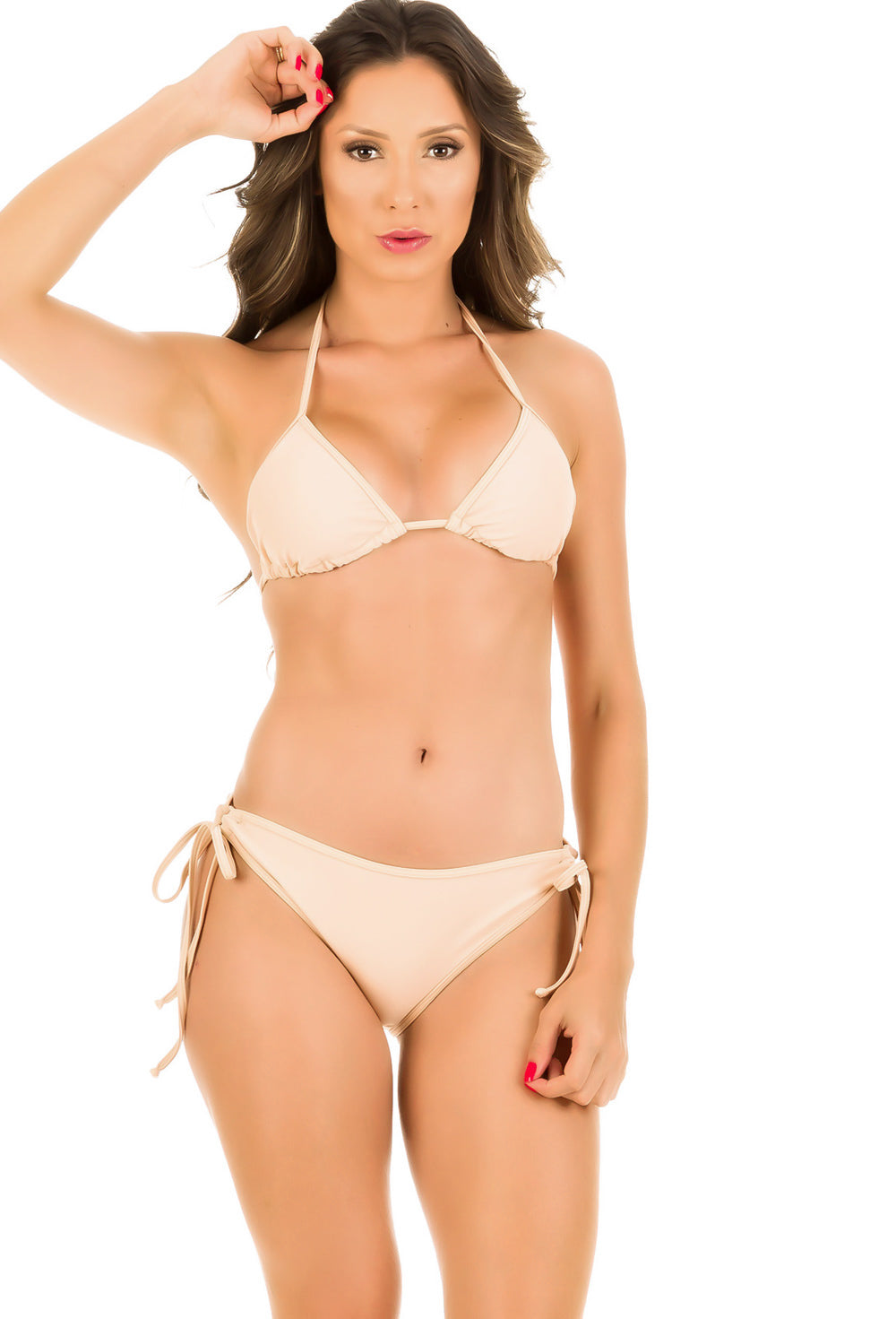 Pink Sand - Ruched Moderate Coverage Bikini Set