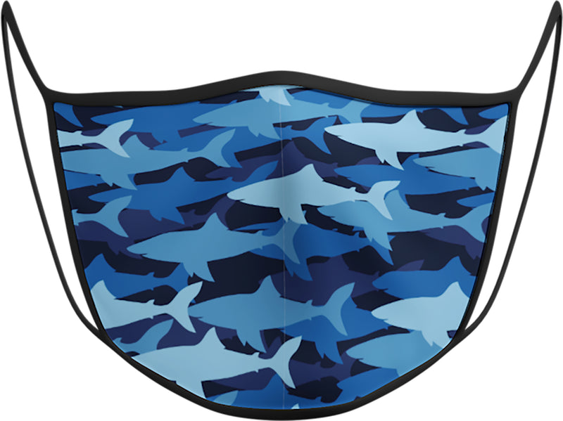 Shark Blue - KIDS FACE MASK - With pocket for filter