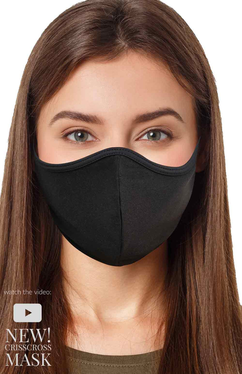 KIDS & TEENS CRISSCROSS FACE MASK  - BLACK