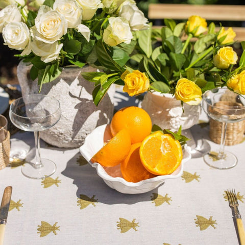 Gold Bee tablecloth at Unearthed Homewares