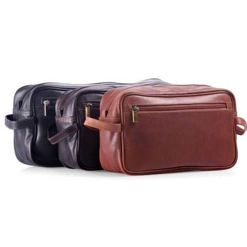 Oran Leather hackleberry wet pack toiletry bag in black brandy and brown. Avail at Unearthed Homewares
