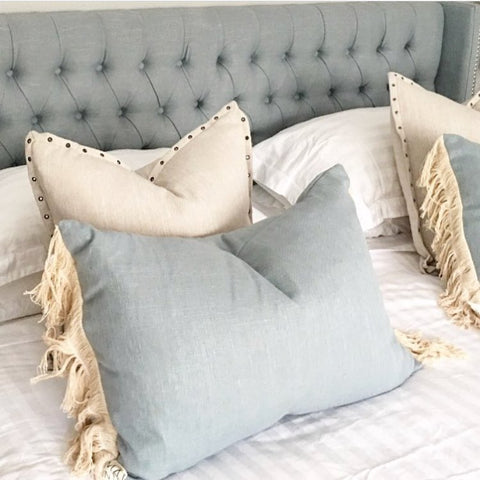 French Blue Macaron Cushion with Natural Fringeing