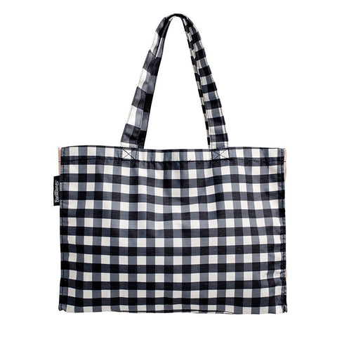 weekend tote Black gingham by basil bangs at Unearthed Homewares