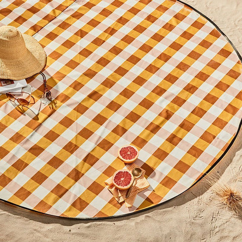 basil bangs love rug in butterscotch gingham at unearthed Homewares