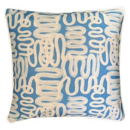 Blue squiggle art cushion cover at Unearthed Homewares