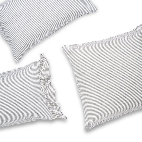 Society of Wanderers - Linen Pillowcase Set | Charcoal Stripe