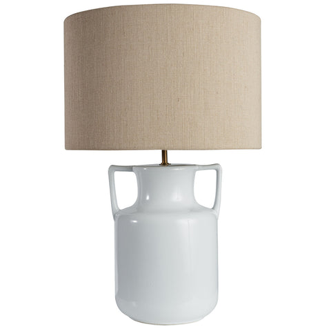 Farm Lamp | White Ceramic + Natural