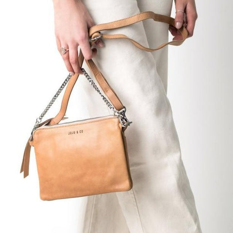 Good Juju Leather Crossbody / Over shoulder Bag in Natural by JUJU at Unearthed Homewares