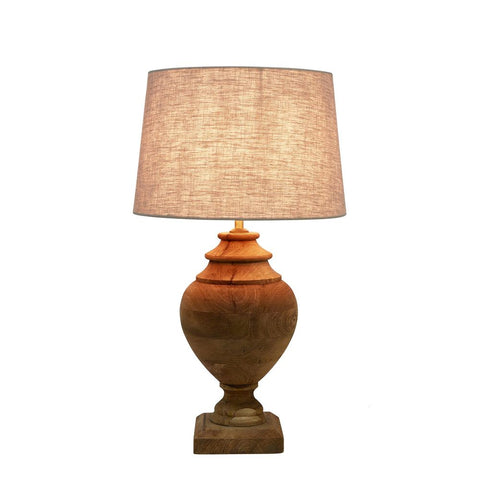 LAMP | Urn Shaped Turned Wood + Linen Shade
