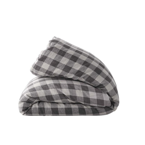 Licorice Gingham Duvet Cover by Society of Wanderers at Unearthed Homewares