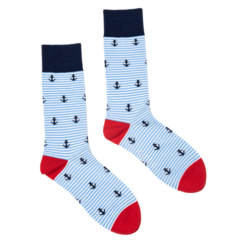 ORTC - Mens Socks | Pale Stripe Anchors