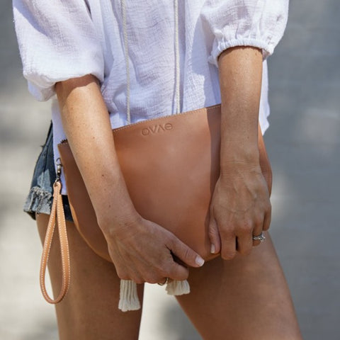 Ovae New Moon Clutch in Buttermilk at Unearthed Homewares
