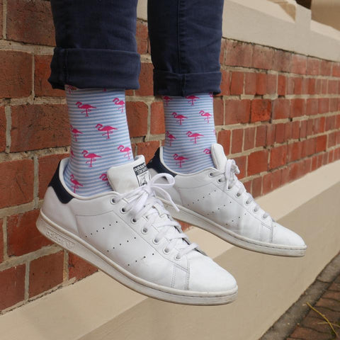 Blue and white Stripe unisex socks with pink flamingos by ORTC at Unearthed Homewares