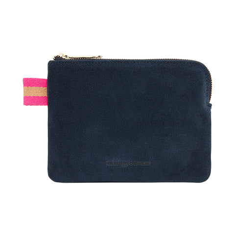Arlington Milne Paige Coin Purse in Navy  Suede at Unearthed Homewares