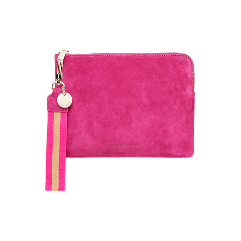 Arlington Milne Hot Pink Suede Clutch with Wristlet at Unearthed Homewares