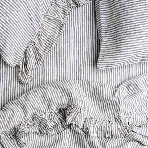Society of wanderers Charcoal Stripe linen at Unearthed Homewares