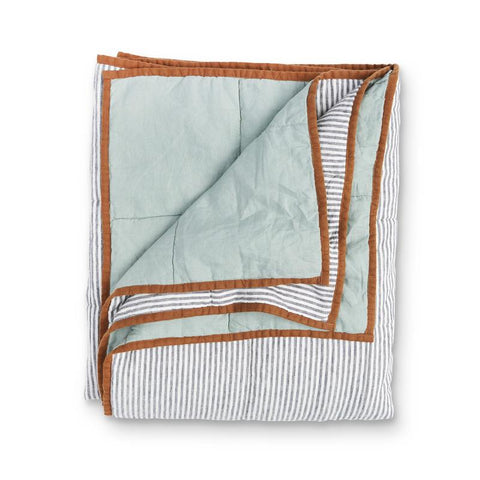 Society of Wanderers Wasabi and Charcoal Stripe Quilt at Unearthed Homewares