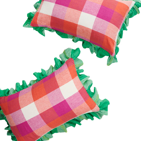 sherbet check full ruffle pillowcase set by soceity of wanderers at unearthed homewares