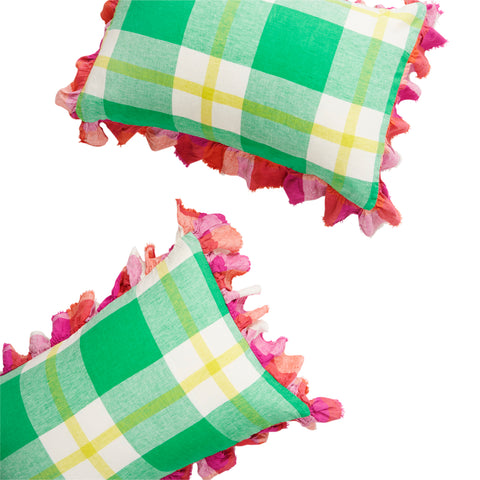 Zest Check Full Ruffle Pillowcase Set * Preorder*