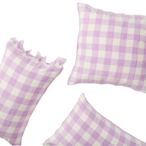 Lilac gingham pillowcase set by  Society of wanderers