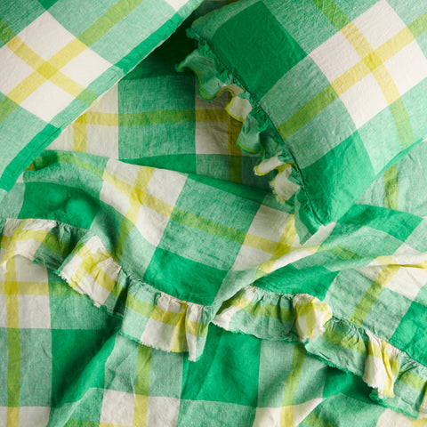 zest check ruffle flat sheet by society of wanderers at unearthed homewares