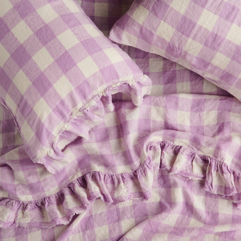 lilac gingham  fitted sheet by society of wanderers at Unearthed Homewares