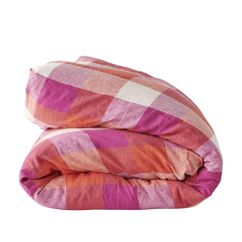sherbet check duvet cover by society of wanderers at unearthed Homewares