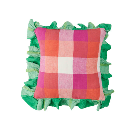 Sherbet Check Full Ruffle Linen Cushion  *Preorder*