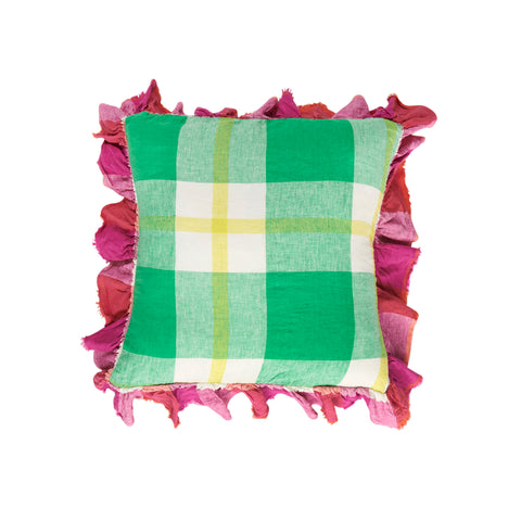 Zest Check Full Ruffle Linen Cushion  *Preorder*