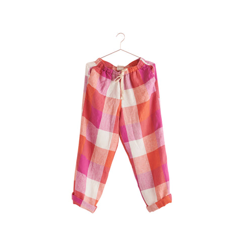 sherbet check linen pants by society of wanderers